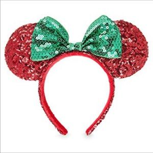 Disney Parks Sequin Christmas Mouse Red  Ears NWT
